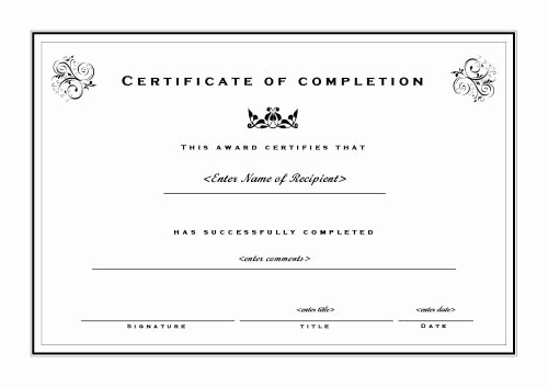 Google Docs Certificate Of Completion Awesome Certificate Template Publisher