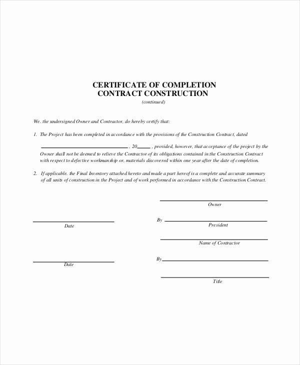 Google Docs Certificate Of Completion New Construction Contract Template 14 Word Pdf Apple