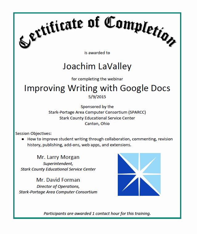 Google Docs Certificate Of Completion Unique Certificates General Joachim Lavalley