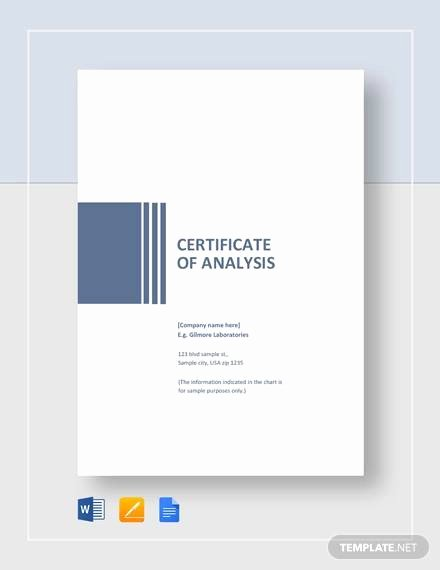 Google Docs Certificate Template Luxury Free 11 Sample Certificate Of Analysis Templates In
