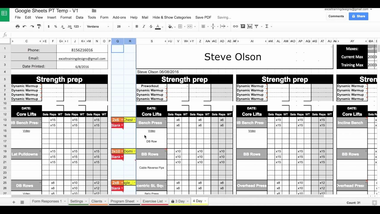 Google Docs Note Card Template New Workout Spreadsheet Google Docs