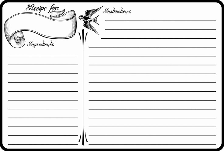 Google Docs Note Card Template Unique Classic Tattoo 4x6 Recipe Card Free Printable