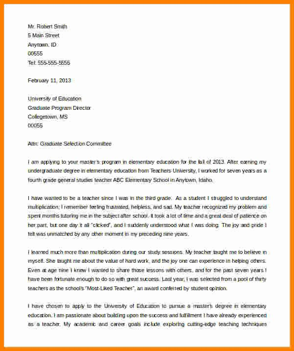 Graduate Letter Of Intent Example Best Of 6 Graduate School Letter Of Intent