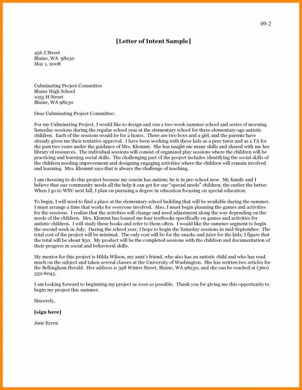 Graduate Letter Of Intent Example Inspirational Letter Intent for Graduate School