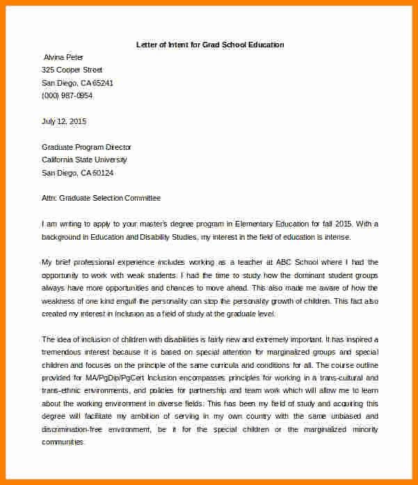 Graduate Letter Of Intent Example Unique 6 Graduate School Letter Of Intent Sample