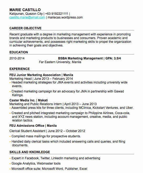 Graduated with Honors On Resume Elegant How to Write A Fresh Graduate Resume with No Work