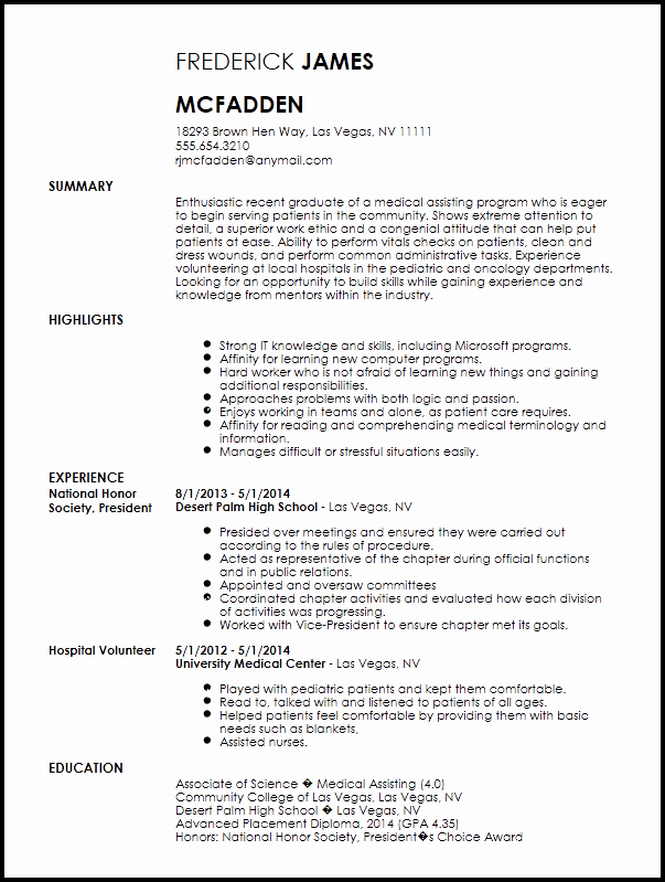 Graduated with Honors Resume Sample New Free Entry Level Medical assistant Resume Template