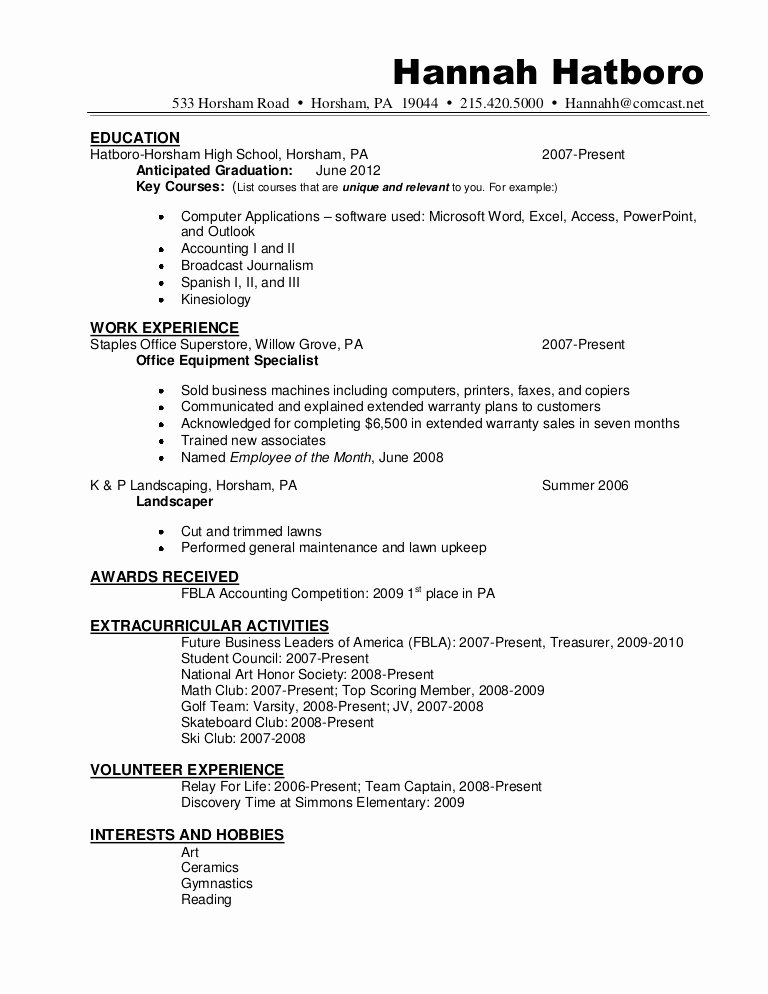 Graduated with Honors Resume Sample New Resume Sample Hannah Hatboro 0411