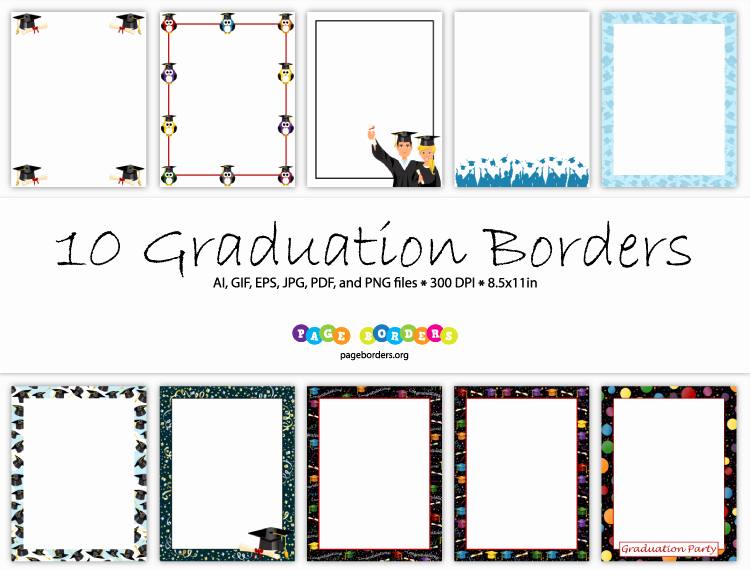 Graduation Border Paper Printable Awesome 10 Graduation Borders with Graphics Of Graduates