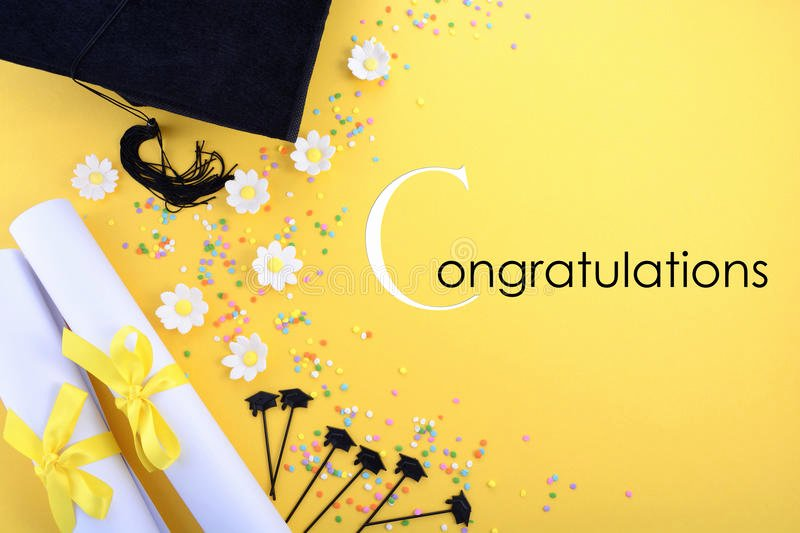 Graduation Borders and Backgrounds Beautiful Yellow Black and White theme Graduation Background Stock