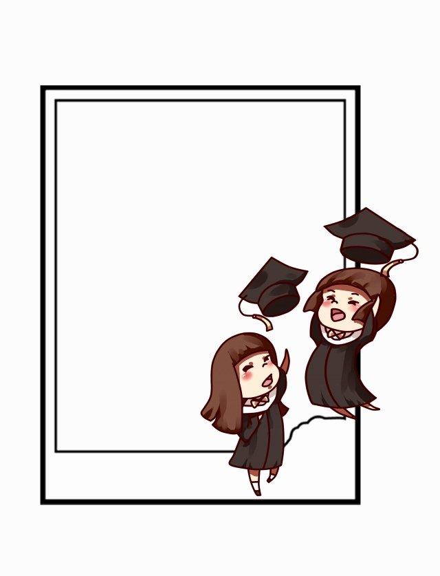 Graduation Borders and Backgrounds Unique Bachelor Cap Border Cartoon Graduation Season Element