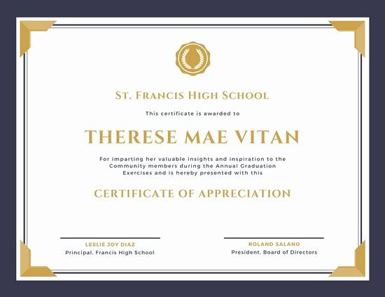 Graduation Certificate Of Appreciation Awesome Purple and Gold Bordered Appreciation Certificate