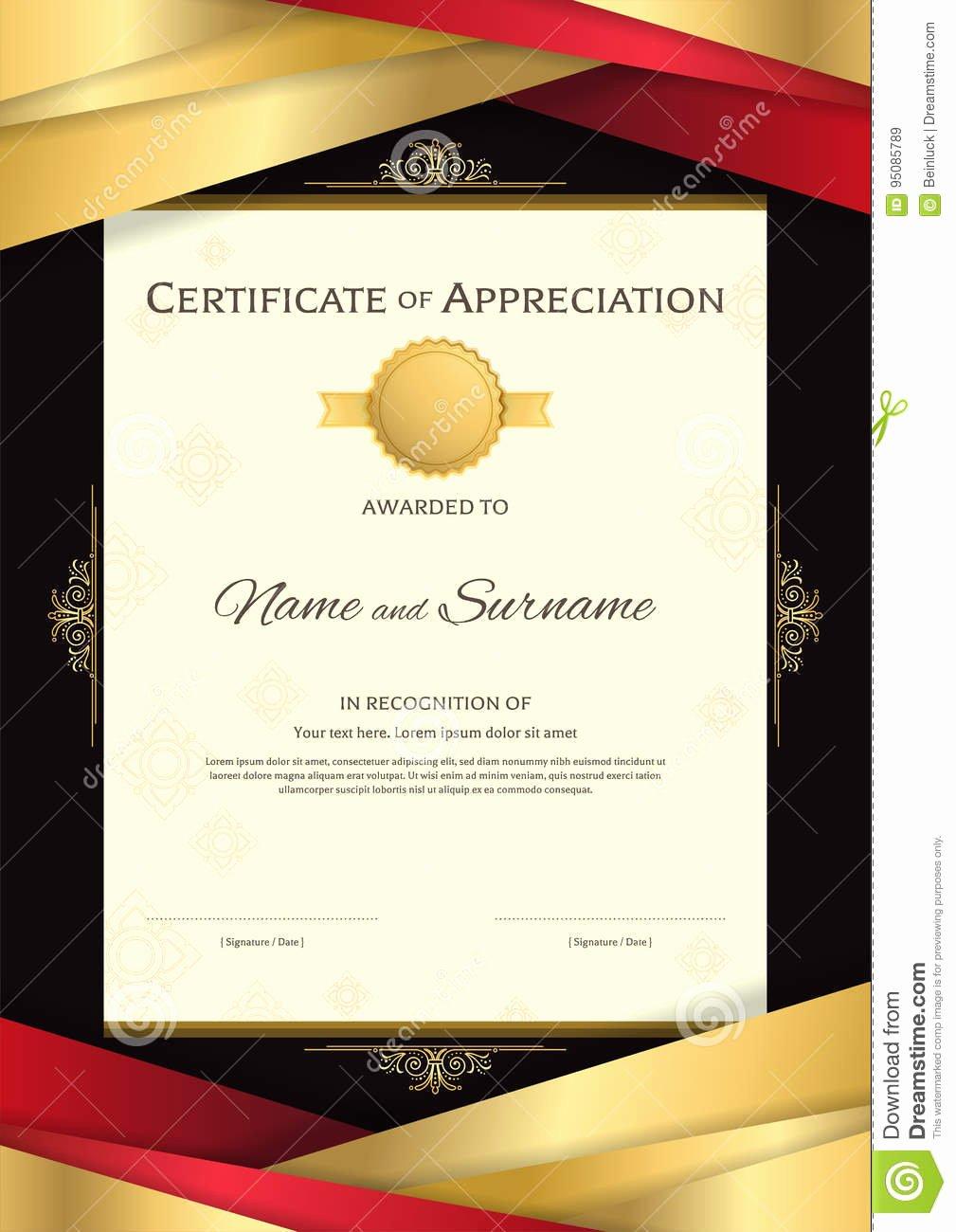 Graduation Certificate Of Appreciation Best Of Portrait Luxury Certificate Template with Elegant Golden