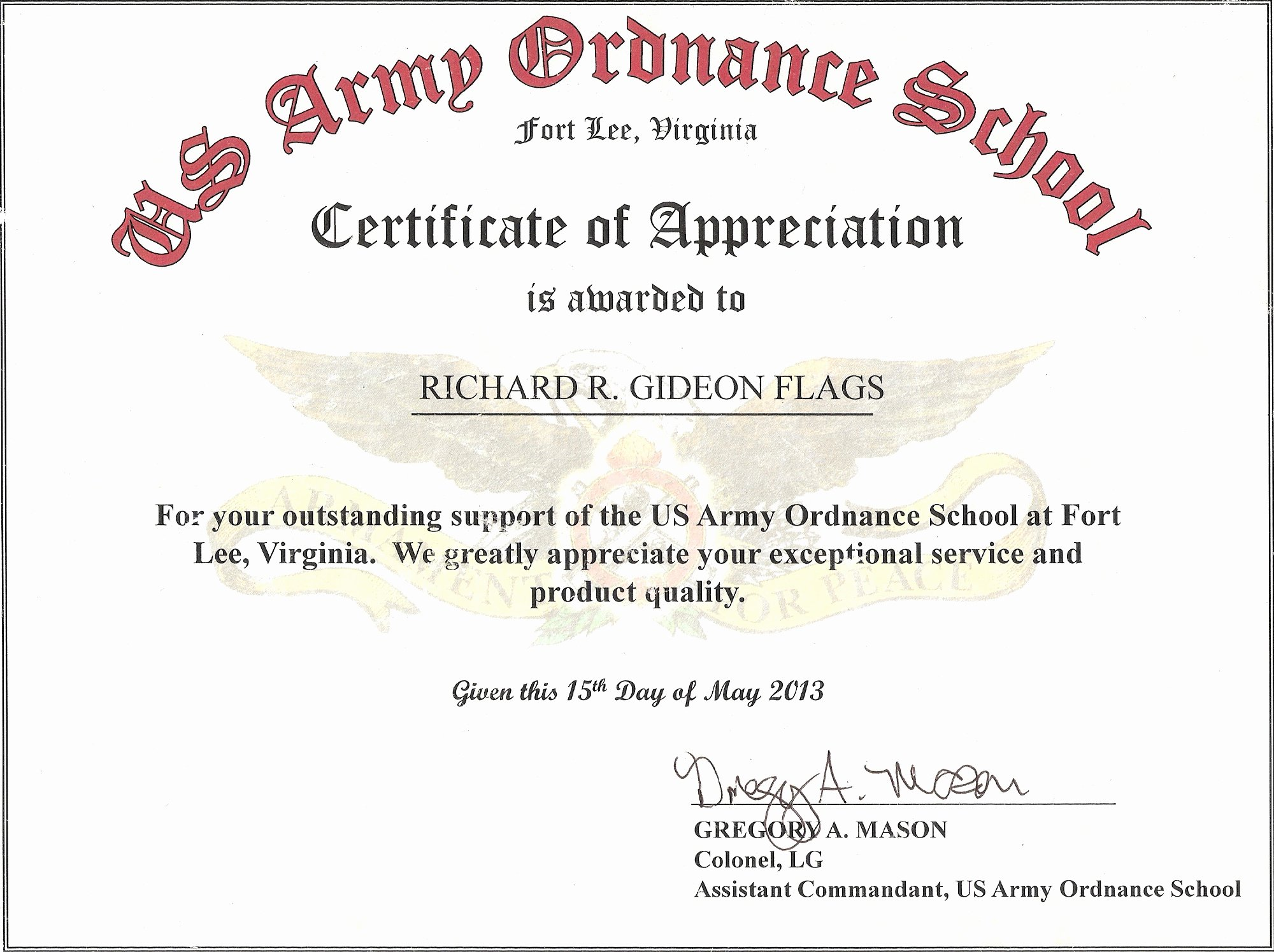 Graduation Certificate Of Appreciation Luxury Military Guidon Campaign Battle and Custom Streamers