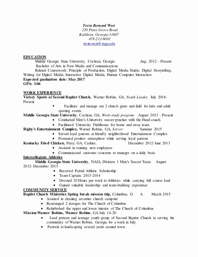 Graduation Date On Resume Luxury Tevin West Resume Fall 2016 Updated with Gpa and