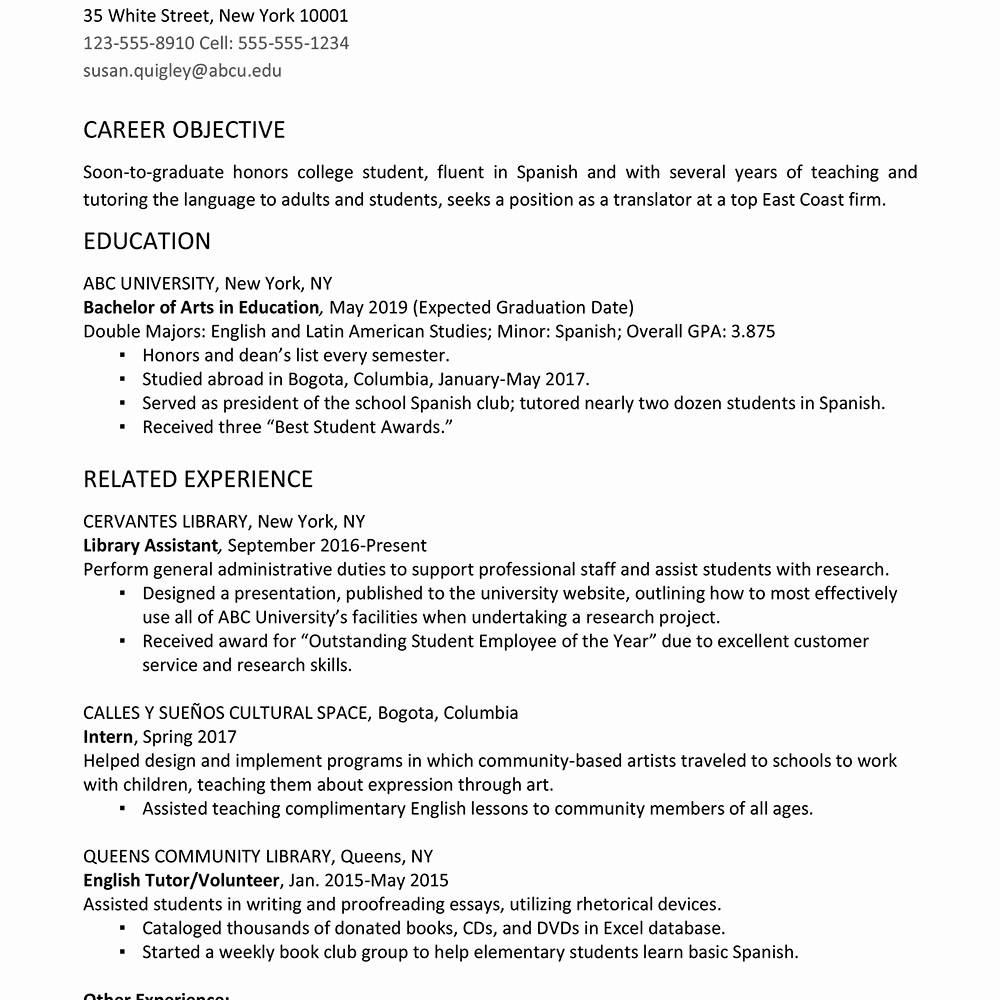 Graduation Date On Resume Unique College Graduate Resume Example and Writing Tips