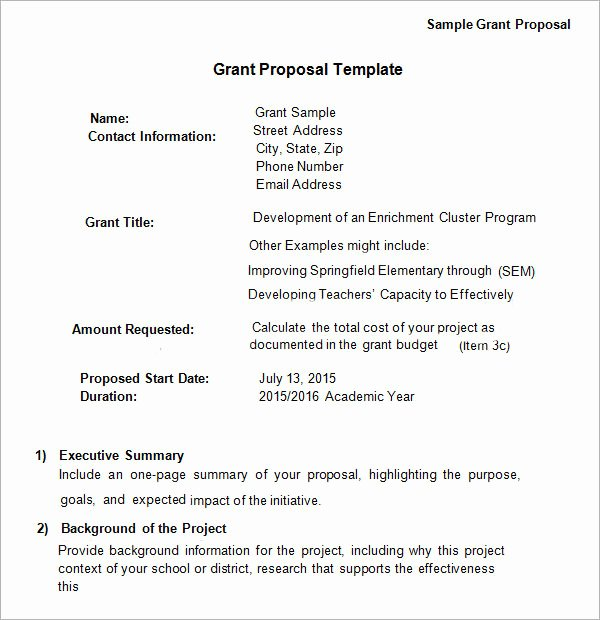 Grant Proposal Cover Page Fresh Free 17 Sample Grant Proposal Templates In Word Pdf