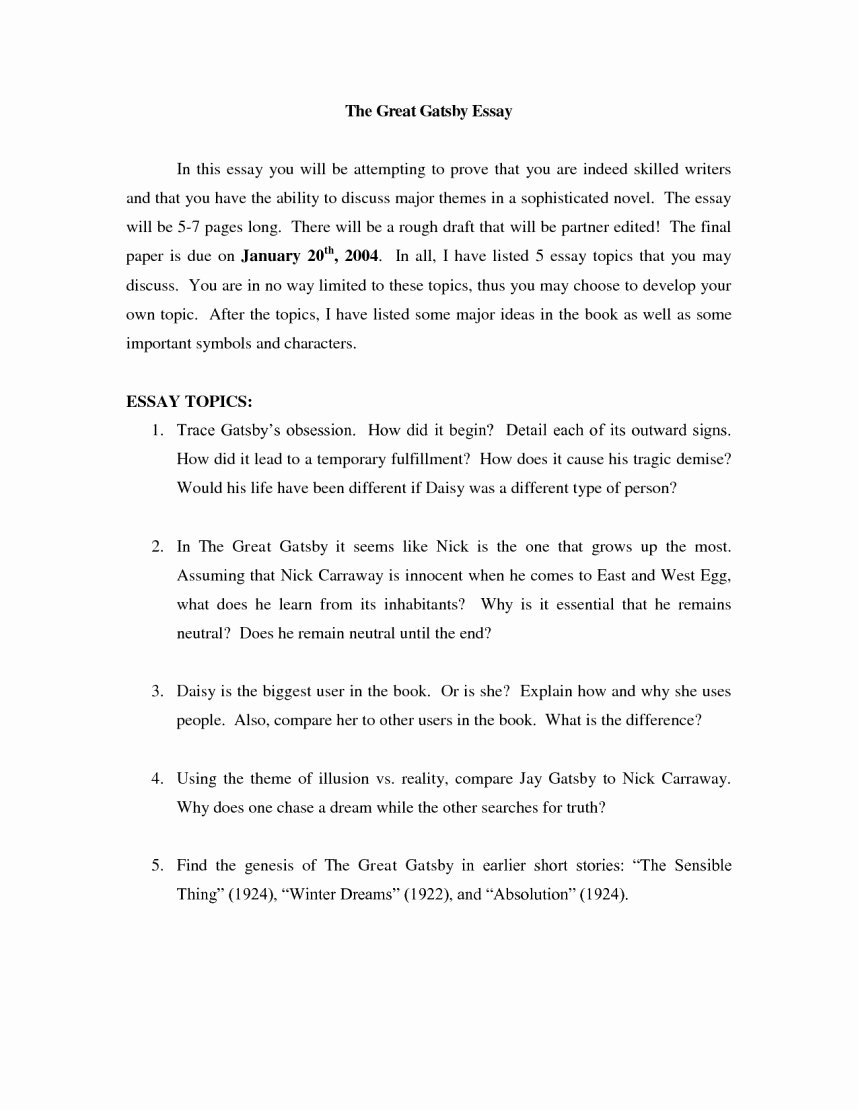 Great Gatsby thesis Statement Examples Best Of social Work Essay topics