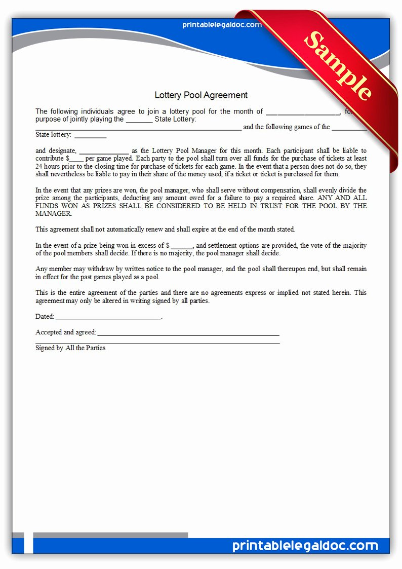 Group Lottery Contract Elegant Free Printable Lottery Pool Agreement form Generic