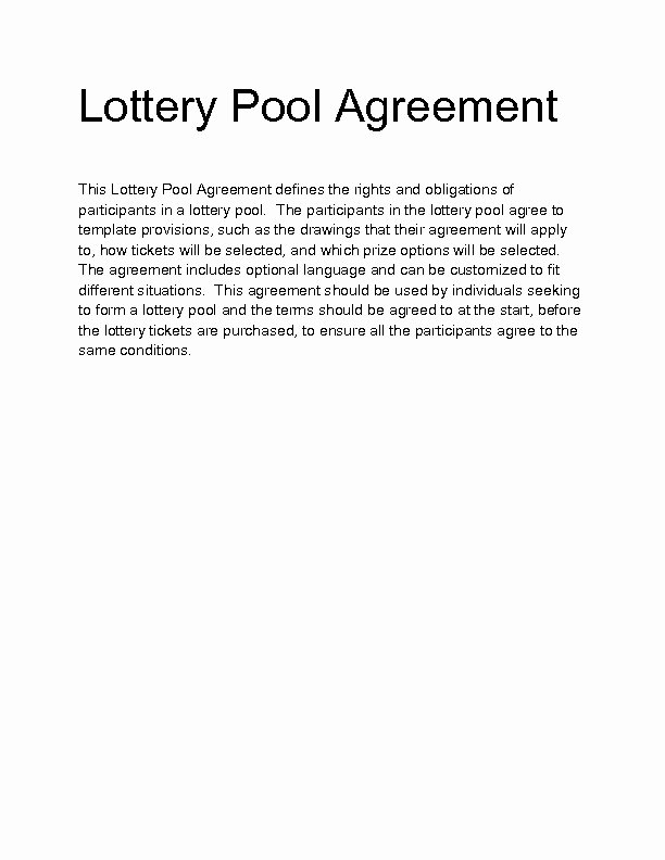 Group Lottery Contract Luxury Lottery Pool Agreement Template – Emsec Throughout Fice