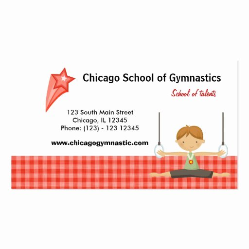 gymnastic school red business card templates