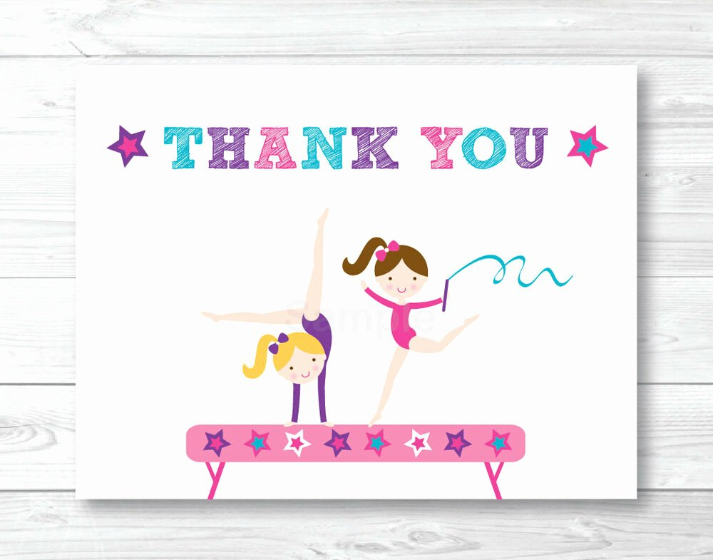 Gymnastics Gift Certificate Template Beautiful Gymnastics Birthday Party Thank You Card Printable
