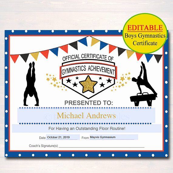 Gymnastics Gift Certificate Template Elegant Editable Gymnastics Certificates Instant Download Gymnastics