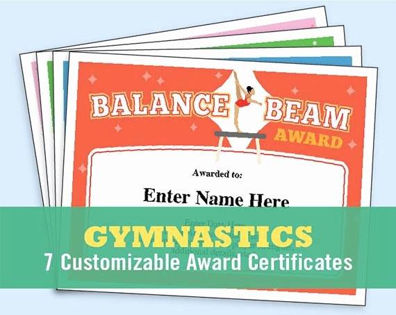 Gymnastics Gift Certificate Template Fresh Gymnastics Certificate Pack Kids Certificate Gymnast Award