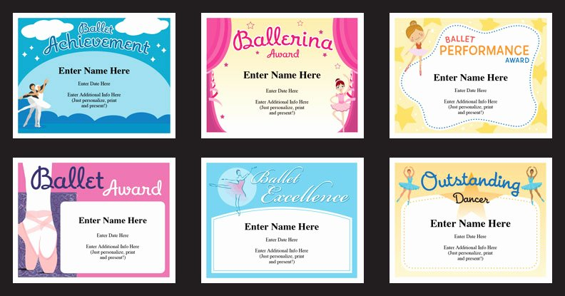 Gymnastics Gift Certificate Template Lovely Ballet Certificates Templates Awards for Ballerina S