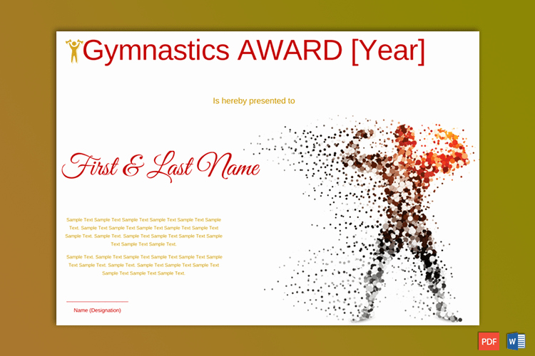 Gymnastics Gift Certificate Template Lovely Gymnastic Award Certificate White themed In Doc Gct