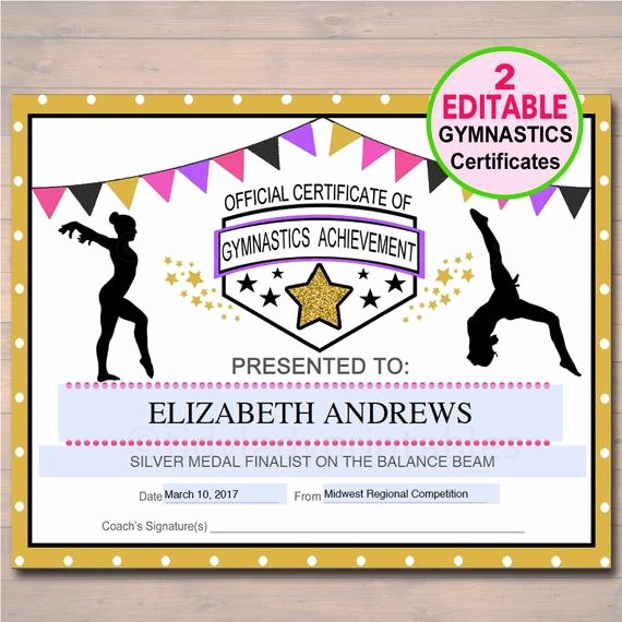 Gymnastics Gift Certificate Template Luxury Editable Gymnastics Certificates Instant Download Gymnastics
