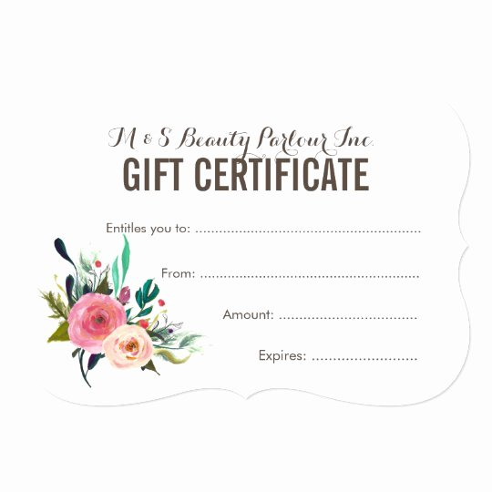 Hair Salon Gift Certificate Template Awesome Painted Floral Salon Gift Certificate Template