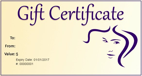 Hair Salon Gift Certificate Template Beautiful Gift Certificate Template – 34 Free Word Outlook Pdf