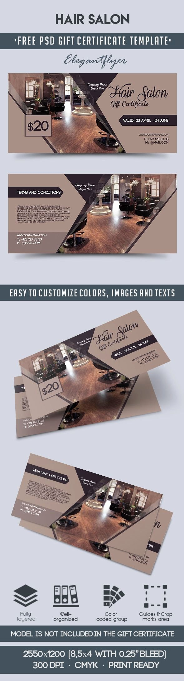 Hair Salon Gift Certificate Template Beautiful Hair Salon – Free Gift Certificate Psd Template – by