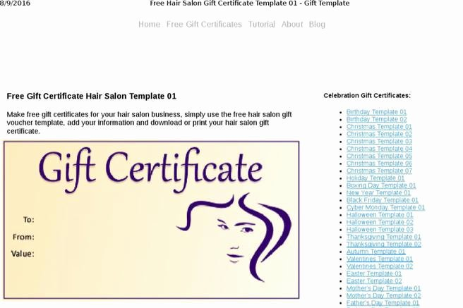 Hair Salon Gift Certificate Template Free Lovely Certificate Template