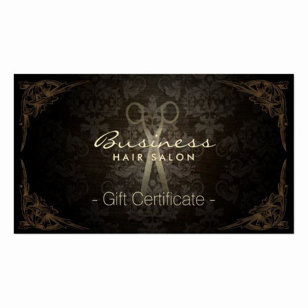 Hair Salon Gift Certificate Template Free Lovely Vintage Framed Damask Hair Salon Gift Certificate Business