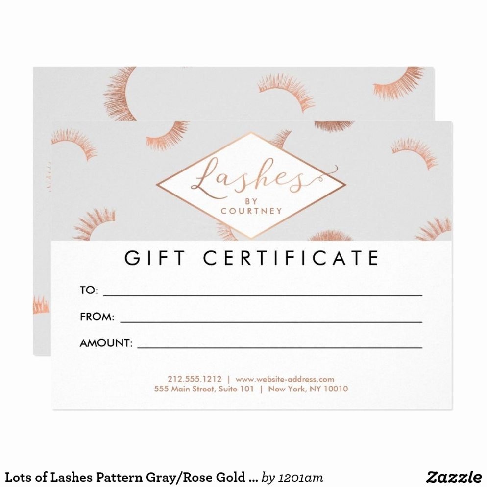Hair Salon Gift Certificate Template Free New Lots Lashes Pattern Grayrose Gold Gift Card Zazzle