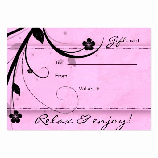 Hair Salon Gift Certificate Template Inspirational Salon Gift Card Spa Flower Watery Pink Business