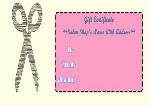 Hair Salon Gift Certificate Template Luxury Haircut T Certificate Templates