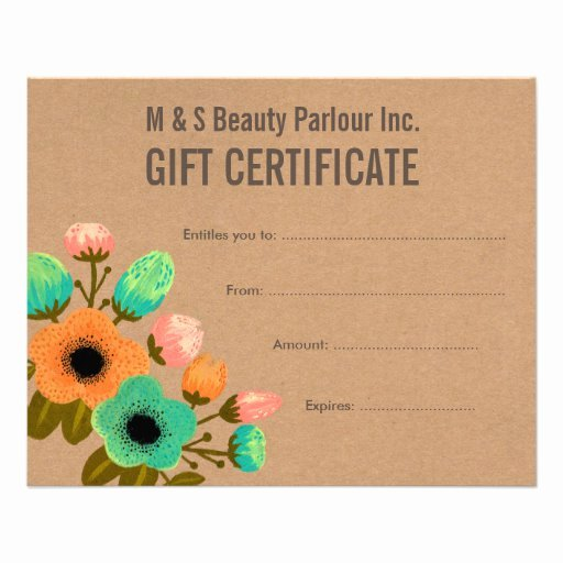 "Hair Stylist Gift Certificate Template Best Of Floral Hair Beauty Salon Gift Certificate Template 4 5"" X"