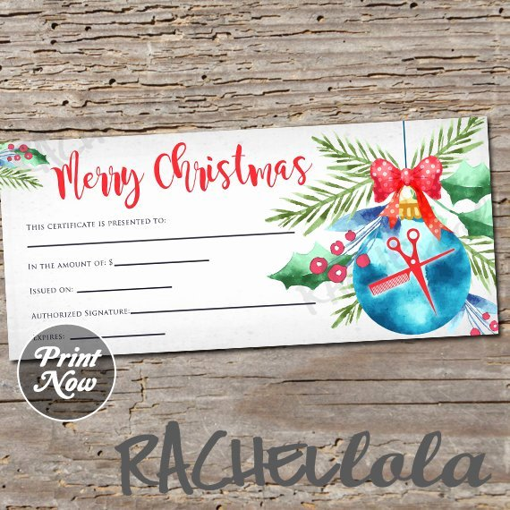 Hair Stylist Gift Certificate Template Elegant Christmas ornament Hair Salon Printable Gift Certificate