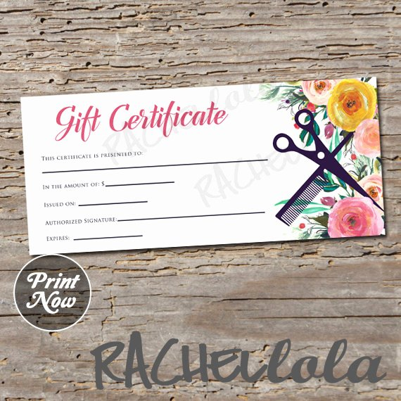 Hair Stylist Gift Certificate Template Fresh Hair Salon Watercolor Floral Printable Gift Certificate