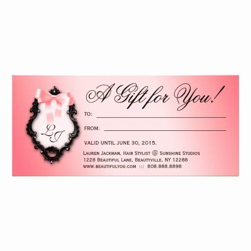 Hair Stylist Gift Certificate Template New Gift Certificate Hair Salon Stylist Bows Peach Rack Card