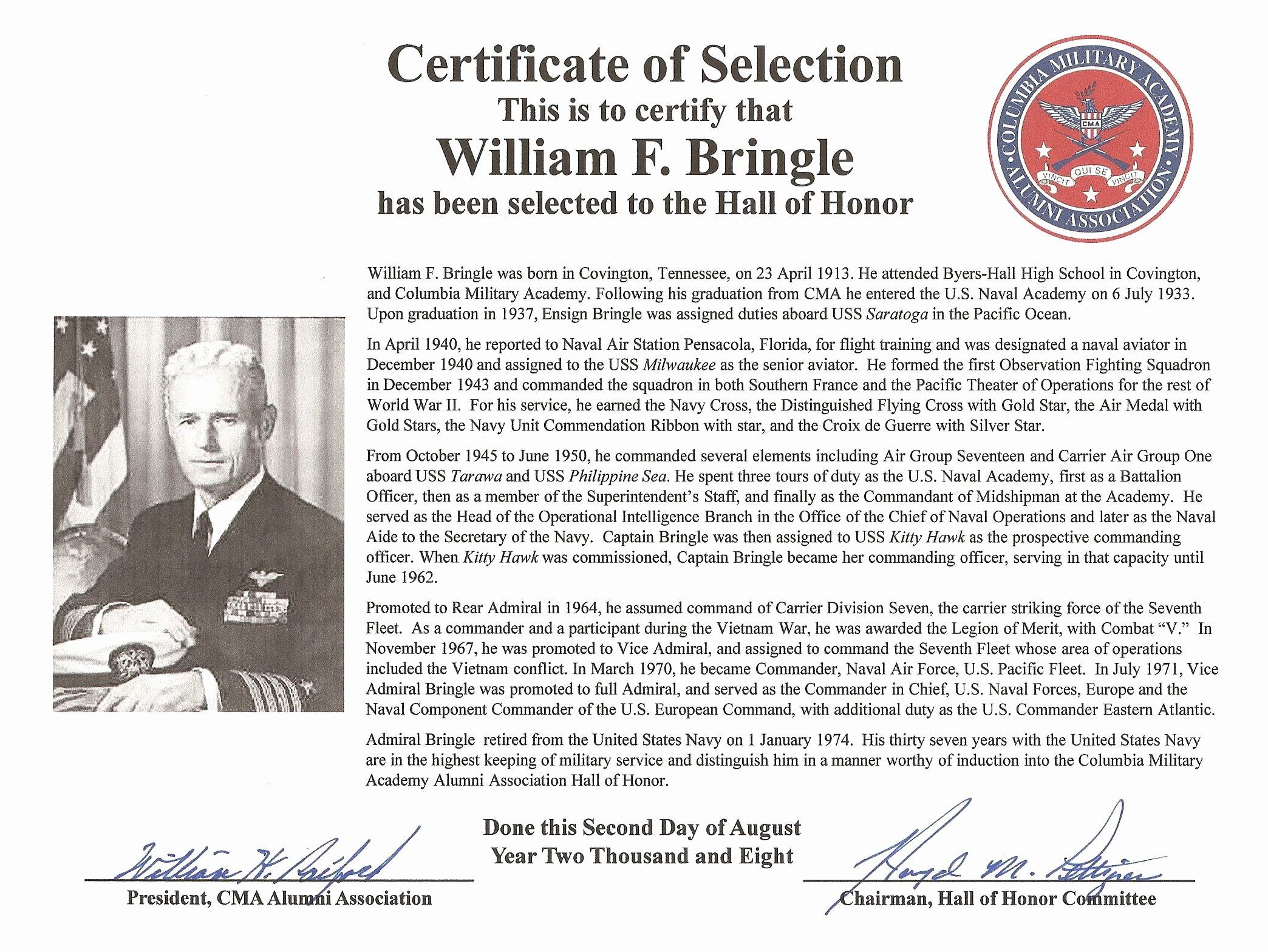 Hall Of Fame Certificate Beautiful Columbia Military Academy Alumni association Cmaaa