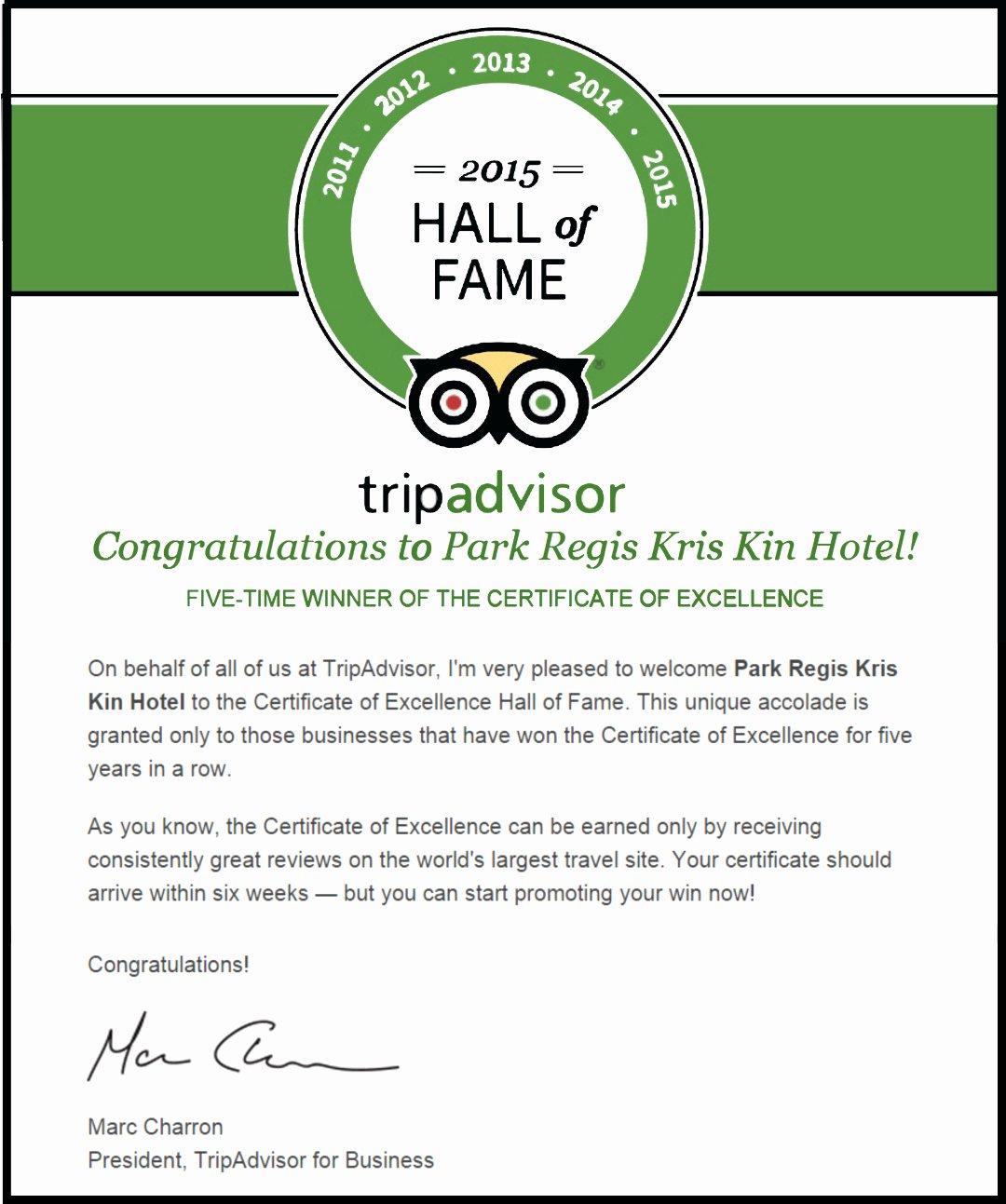 Hall Of Fame Certificate Elegant Hall Fame Certification for the Park Regis Kris Kin