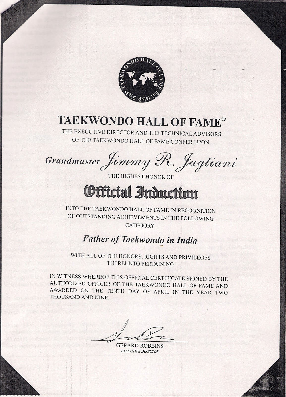 Hall Of Fame Certificate Elegant Jimmy R Jagtiani is Father Of Taekwondo In India Jimmy
