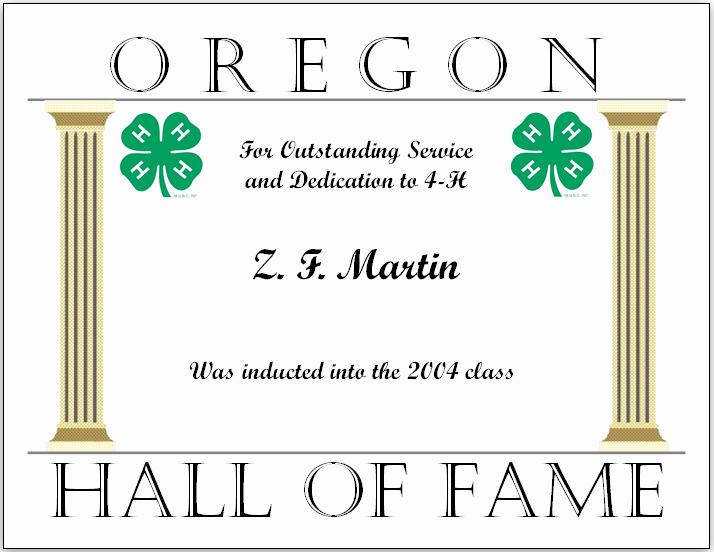 Hall Of Fame Certificate New Z F Martin Marion County