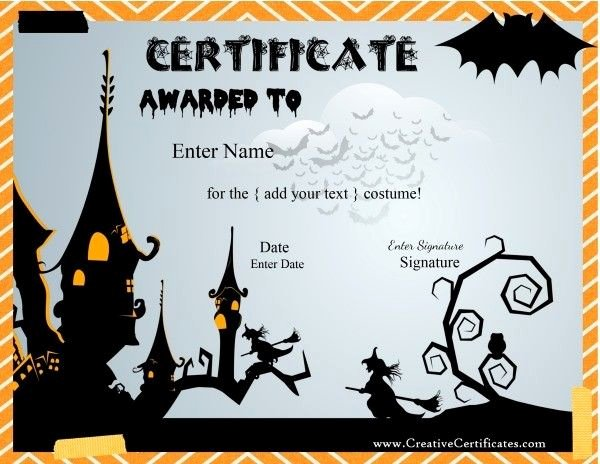 Halloween Costume Certificate Template Awesome 42 Best Halloween Images On Pinterest