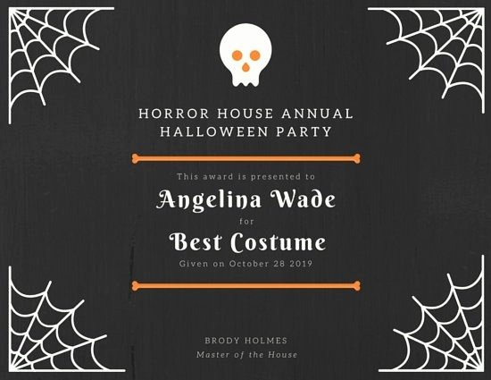 Halloween Costume Certificate Template Beautiful Award Certificate Halloween Design Templates