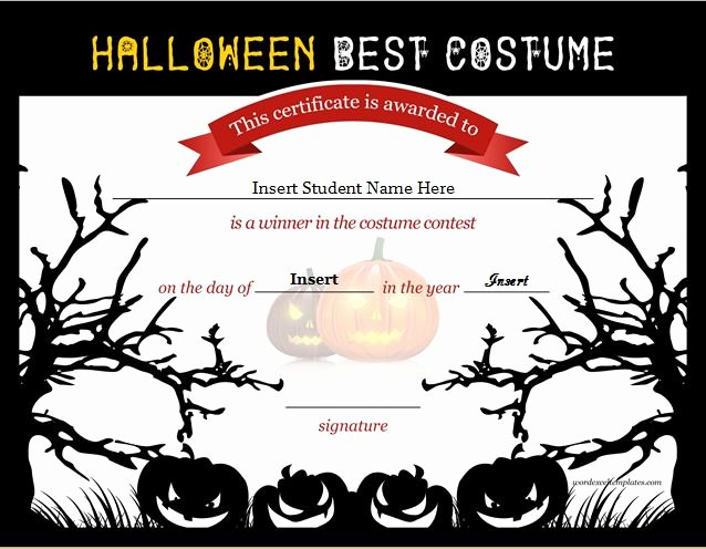 Halloween Costume Certificate Template Best Of Halloween Best Costume Certificate Templates